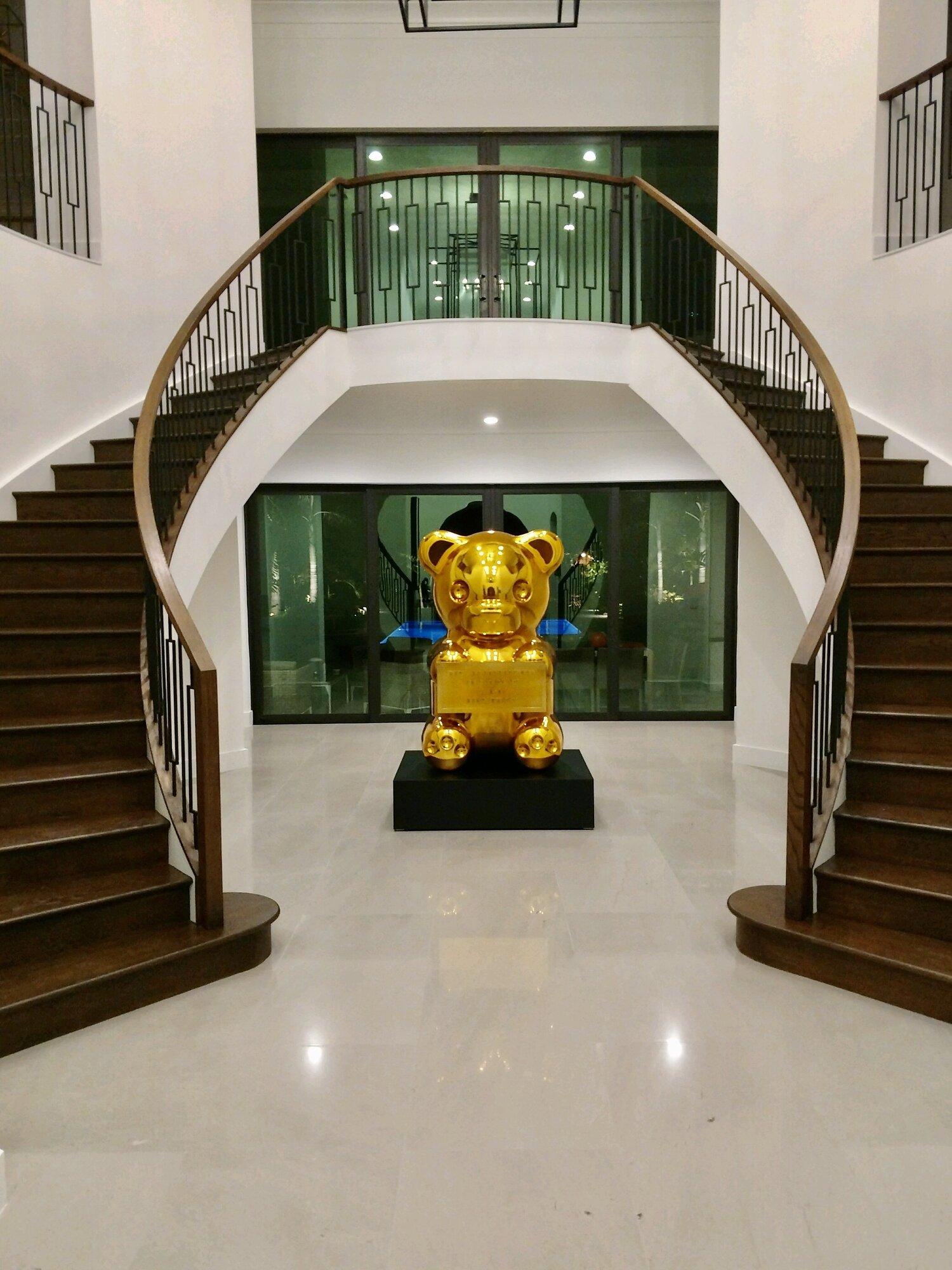 Gold bear statue