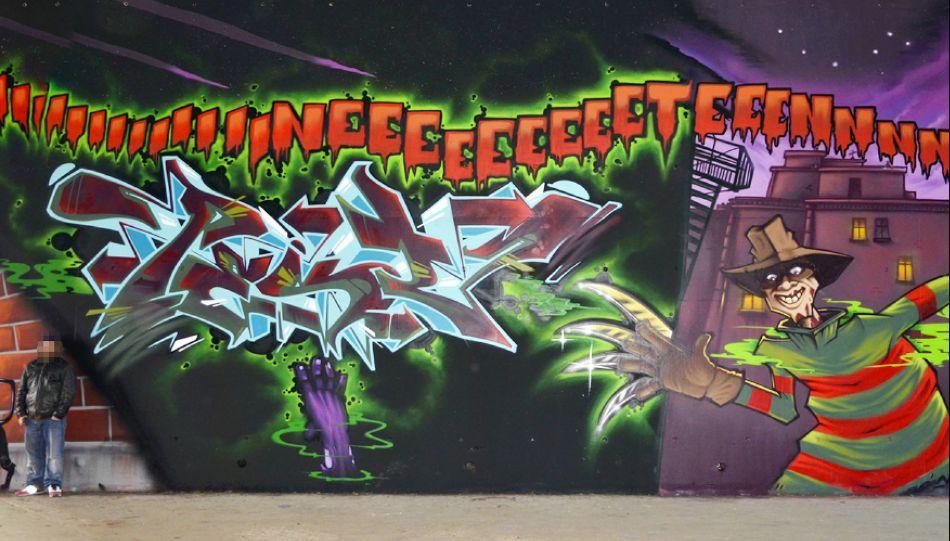 Freddy Kruger Mural by Pest