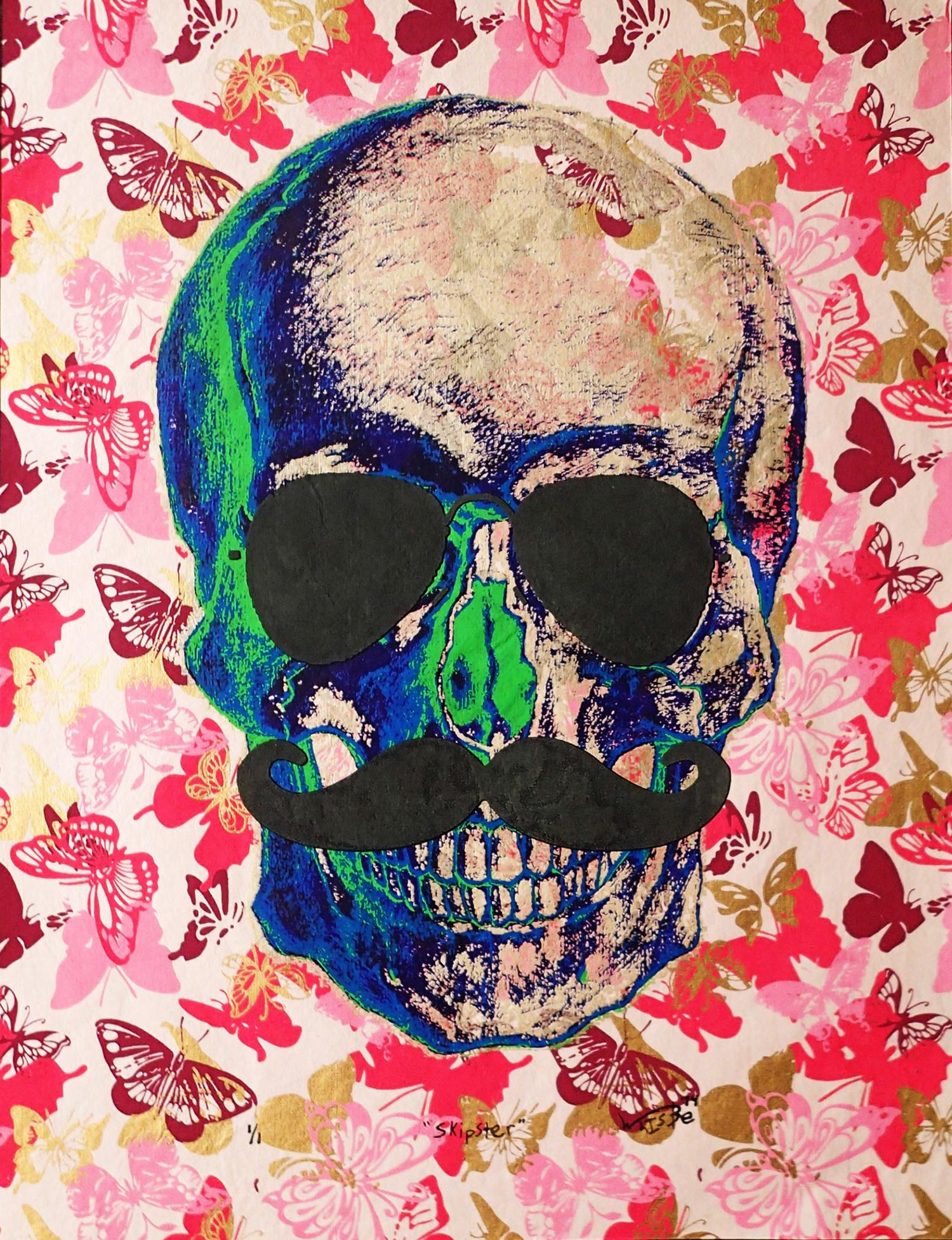 Skull with mustache and butterflies