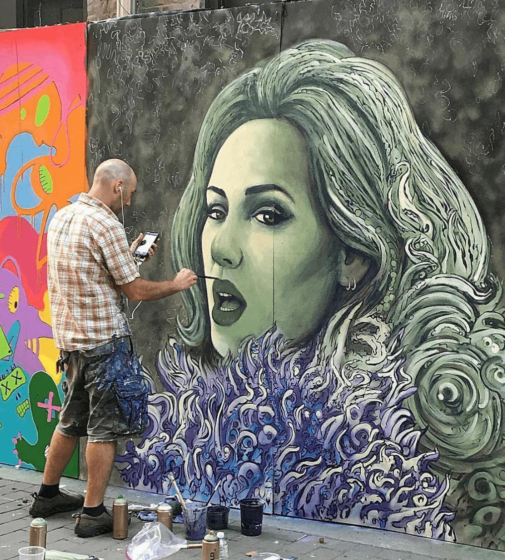 Adele Mural by Marc Evan